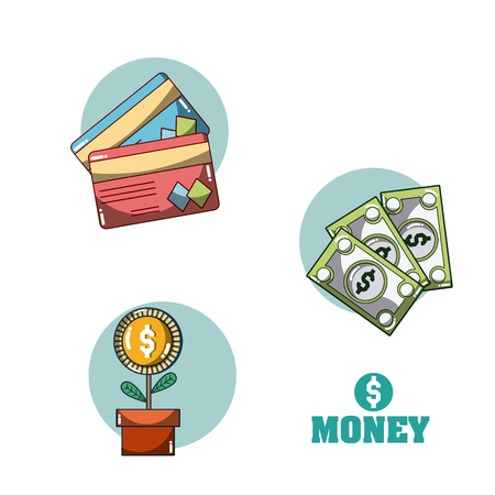 Money and investment cartoons concept vector illustration graphic design
