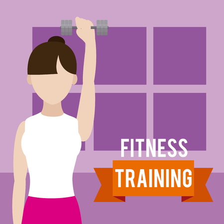 Woman lifting weights vector illustration graphic design