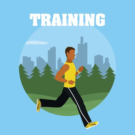 Man running at park round symbol vector illustration graphic design