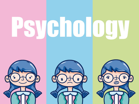 Psychology for girl kid cartoon over colorful background vector illustration graphic design