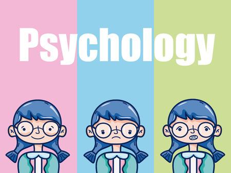 Psychology for girl kid cartoon over colorful background vector illustration graphic design