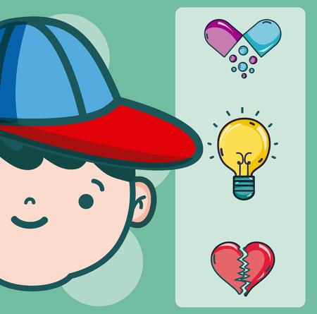 Psychology for boy cartoons vector illustration graphic design  イラスト・ベクター素材