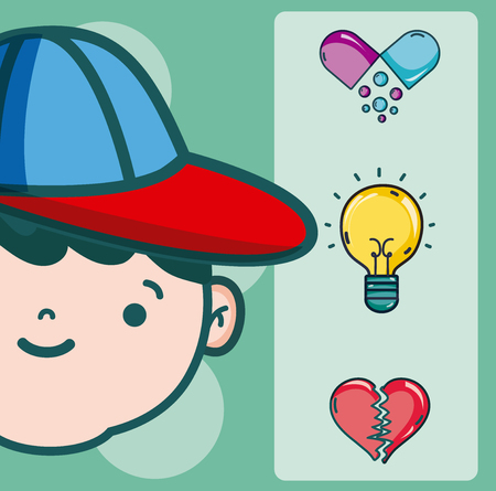 Psychology for boy cartoons vector illustration graphic design Vettoriali