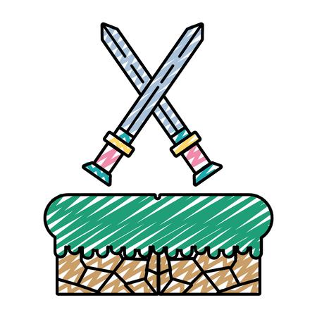 doodle swords flat graphic in videogame scene Illustration