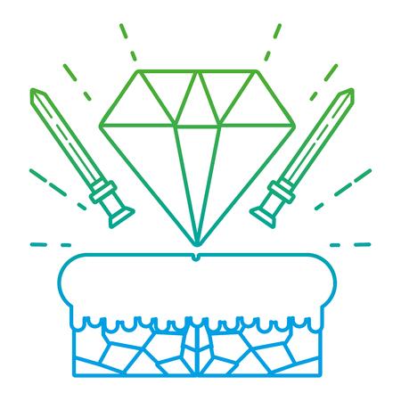 Degraded line graphic swords with diamond videogame scene vector illustration Ilustrace