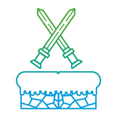 degraded line swords flat graphic in videogame scene vector illustration