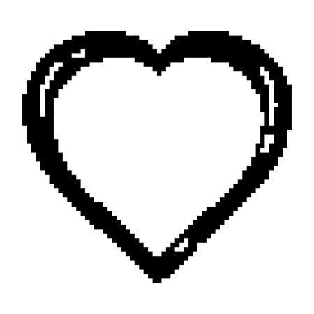 Line love heart symbol of passion style vector illustration