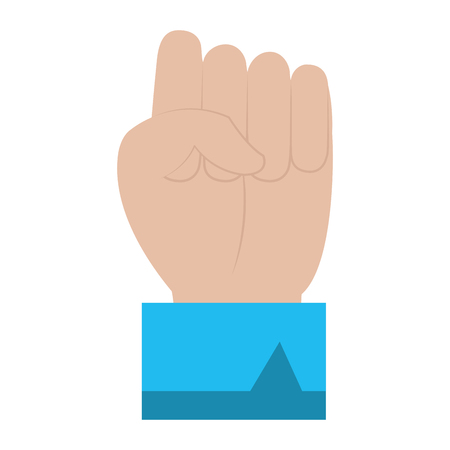 businessman hand fist his fingers gesture vector illustration