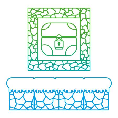 degraded line graphic chest inside crystal stone scene vector illustration