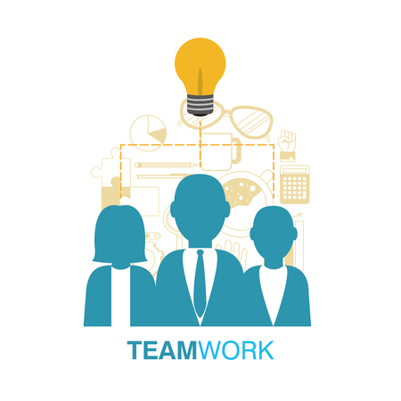 Business teamwork avatar with office elements vector illustration graphic design vector illustration graphic design Illustration