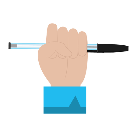 businessman hand with pen object style vector illustration Stock Illustratie