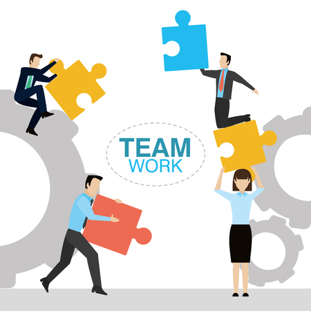 Business people working together vector illustration graphic design