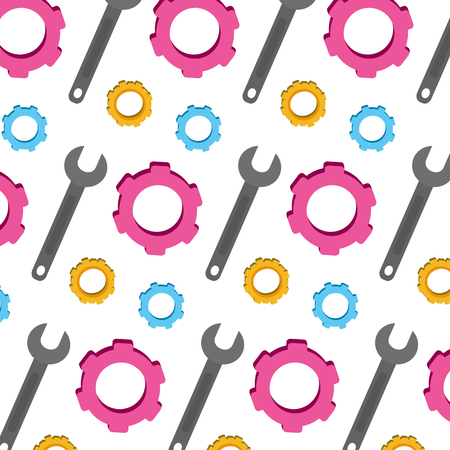 Gear industry and wrench repair background vector illustration Illustration