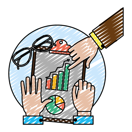 Doodle businessmen hands with graphic statistics diagram and glasses vector illustration