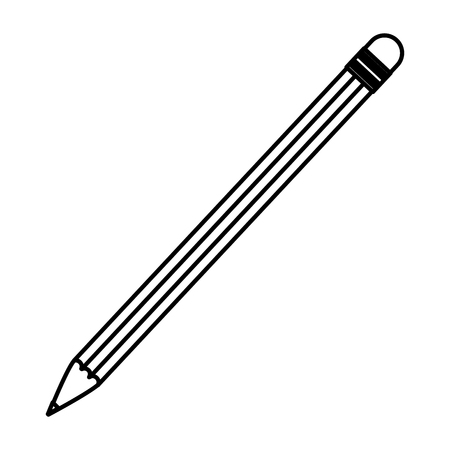Line wood pencil object to write and draw vector illustration