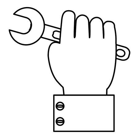 Line businessman hand with wrench equipment service vector illustration