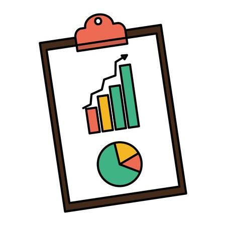 Color statistics bar and graphic diagram document vector illustration