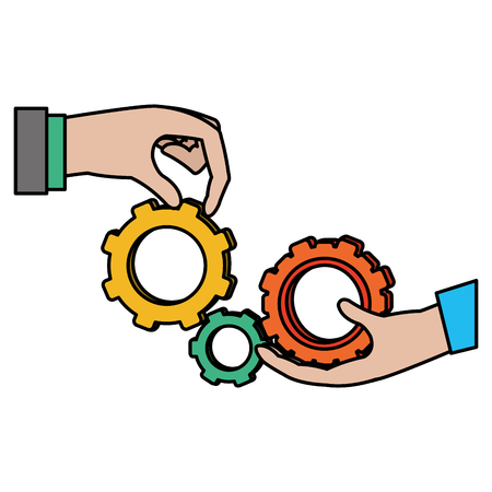 Color businessmen hands with industry gear engineering vector illustration