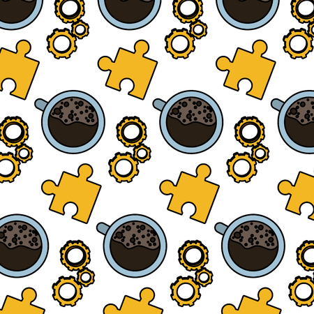Color engineering gear with puzzle and coffee cup background vector illustration