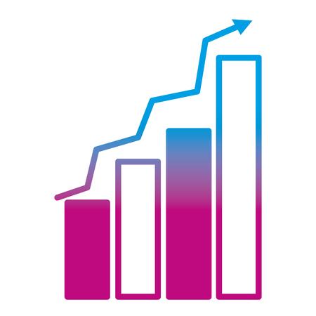 degraded line graphic statistics bar growing diagram vector illustration
