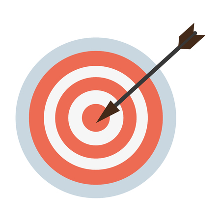 Target dartboard success with center arrow vector illustration