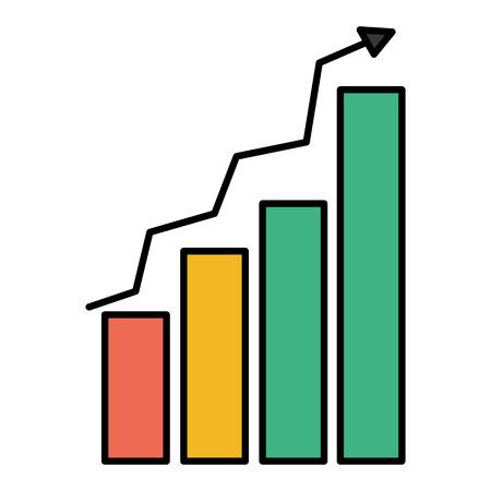 Color graphic statistics bar growing diagram vector illustration Illustration