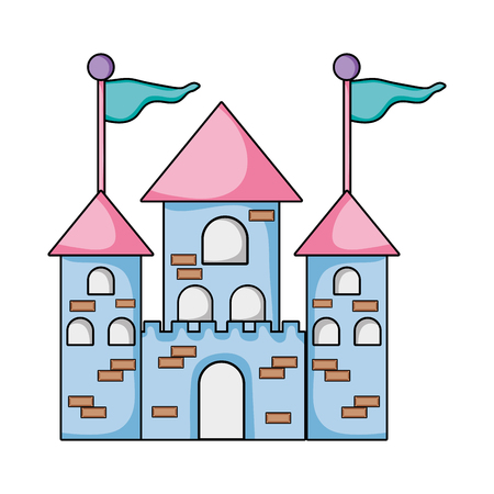 medieval castle building with flags and windows vector illustration