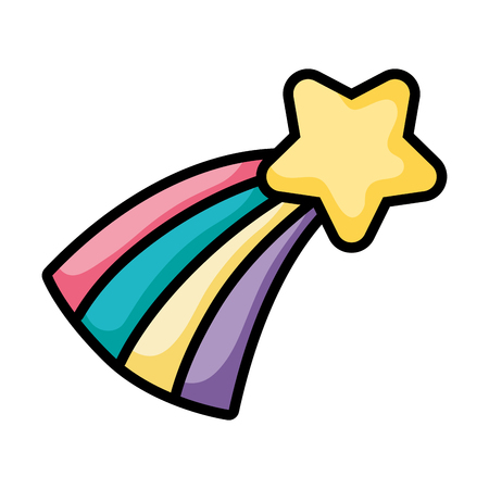 Natural sparkly shooting star with rainbow vector illustration