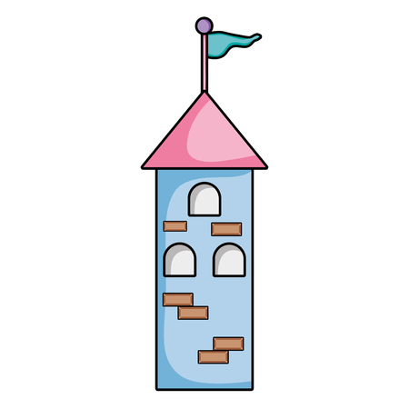 Medieval tower building with flag and windows vector illustration