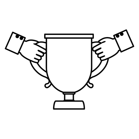 line businessmen hands with competition cup prize vector illustration