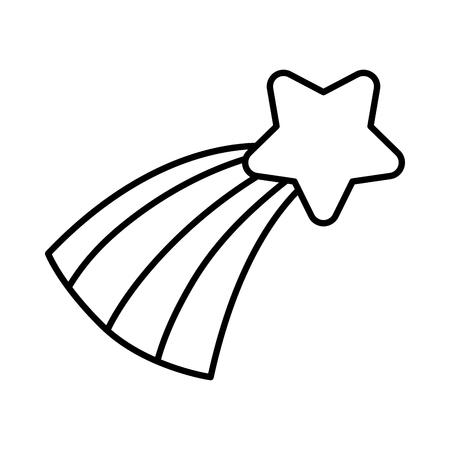 line natural sperkly shooting star with rainbow vector illustration Illustration