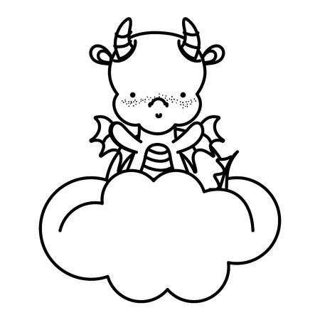 line cute dragon with horns and wings in the clouds vector illustration