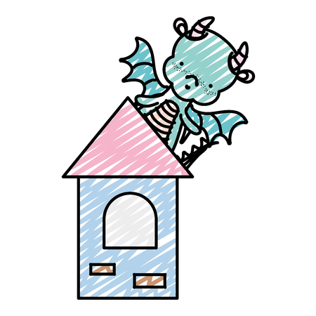 doodle cute dragon with wings in the medieval tower