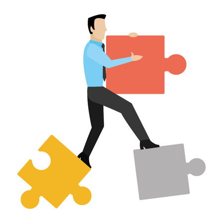 Professional businessman with puzzle pieces success vector illustration. Ilustrace