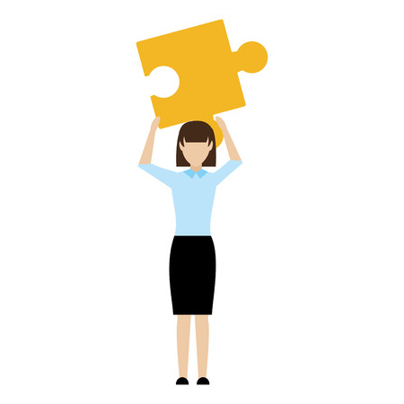 Elegant businesswoman success with puzzle piece vector illustration