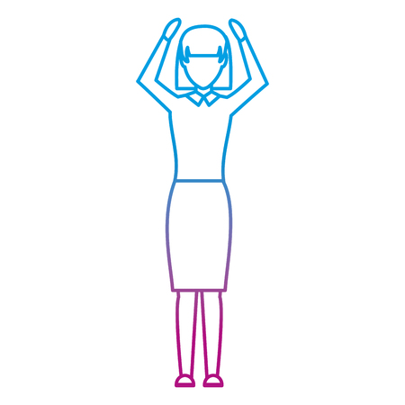 degraded line professional businesswoman success with hands up vector illustration