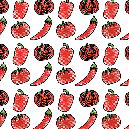 Doodle chili pepers and tomato vegetables background vector illustration