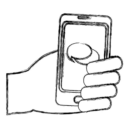 Grunge hand with chat bubble inside smartphone technology vector illustration Vettoriali