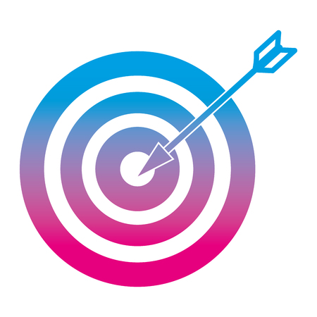 Degraded line target dartboard success with center arrow vector illustration. Illustration
