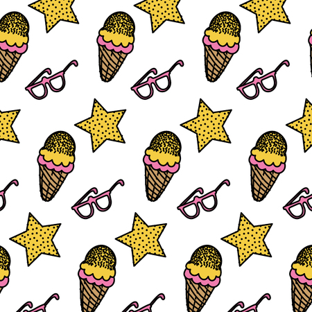 Color star with ice cream and glasses background vector illustration Illustration