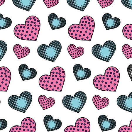 Color hearts symbol of love and passion background vector illustration
