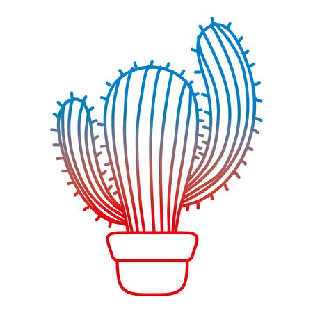 degraded line nature desert cactus plant inside flowerpot vector illustration