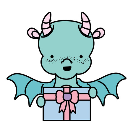 Color cute dragon with present gift in the hands vector illustration