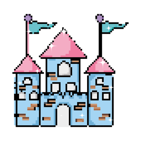 pixel medieval castle with flags and windows vector illustration Ilustração