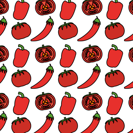 color chili pepers and tomato vegetables background vector illustration