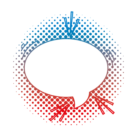 Degraded line oval chat bubble text message vector illustration