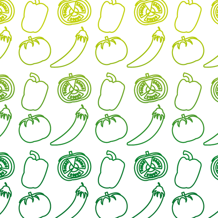 Degraded line chili pepers and tomato vegetables background vector illustration Stock Illustratie