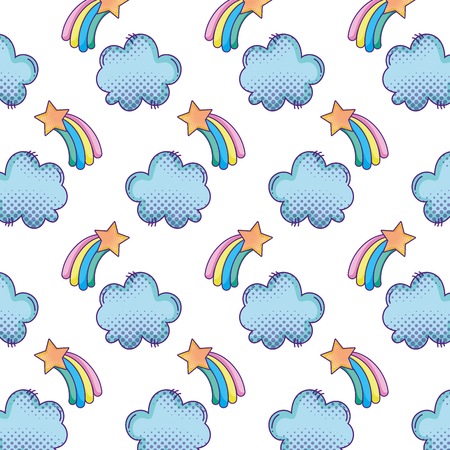Shooting star with rainbow and cloud background vector illustration