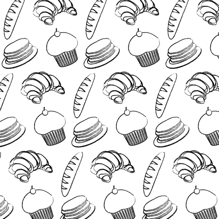 grunge wheat plant breads with waffles and muffin background