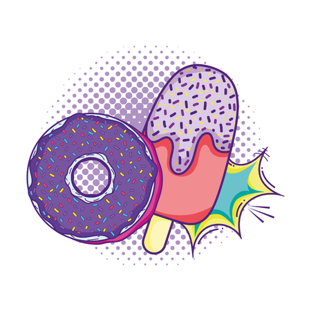 donut and ice lolly with pop art style